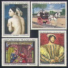 FRANCIA 1967 ART/cavallo/cane/nude/ROYALTY/DIPINTI/Artisti/vetro 4 V Set (n32994)