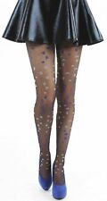 Pamela Mann Sheer Black Tights with Ditsy Floral Blue Flowers
