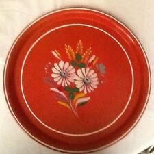 Vintage Round Red Tray With Panted Flowers.