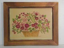 """Wow! """"Flower Basket"""" ARTS & CRAFTS STILL LIFE - Square Felt Framed Behind Glass"""