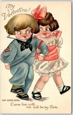 """Valentine's Day Artist-Signed Mary Eleanor George Postcard """"Come Live w/ Me"""""""