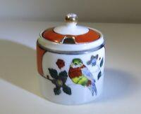 Vintage Noritake Marmalade Condiment Jam Jar - White w/ Orange Band & Bird
