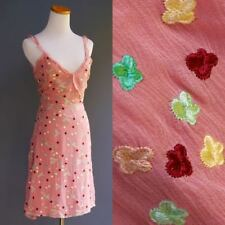 Tocca Pink Sheer Silk Crepe Sun Dress Flora Embroidery Silk Lined Ruffle Strap 6