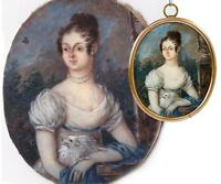 Early 1800s Antique French Portrait Miniature, Empire Era Woman Holds DOG, Frame