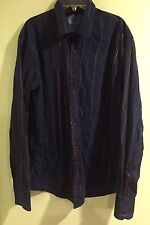 Desigual Men's Navy Shirt With Embroidery Size XL