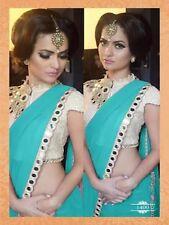 Paquistaní de Bollywood Diseñador/India trabajo Espejo Azul Turquesa Sari, sari