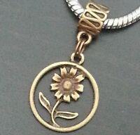 Bronze Tone Flower Dangle Bead Pendant for European Charm Bracelets Or Clip On
