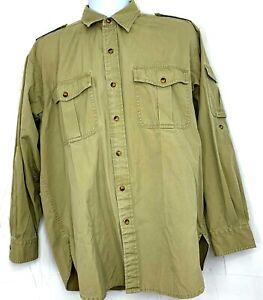 Orvis Mens Button Up Shirt Khaki Tan Beige Safari Cotton Long Sleeve Outdoor M