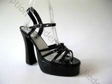 "Demonia Sexy Gothabilly Black Patent 5"" Chunky Strappy Peep Toe Pumps Heels 12"