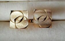 Pair Of Gold Plated Cufflinks with Geometric Design