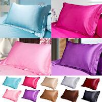 Silk Satin Standard Pillow Case Cushion Cover Pillowcase Home Decoration Bed