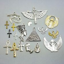 8 African Egyptian Charms, Mixed Assorted Goddess Egypt Africa Horus Scarab