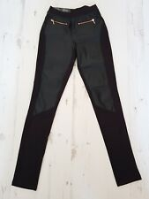 leather panel leggings trousers gold zips new Christmas size 6-8 UK top shop