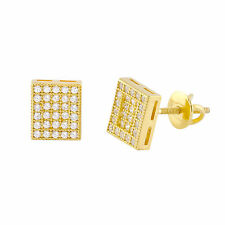 Yellow Gold Plated Sterling Silver Rectangle Screwback Stud Earrings 6mm x 8mm