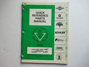 Briggs & Stratton Kohler Clinton Tecumseh engine quick reference parts manual