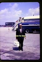 Northwest Orient Airlines Aircraft & Stewardess in 1962, Original Slide aa 5-26b