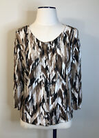 J JILL Women's Size M Button Front Cardigan Sweater Brush Stroke Linen Blend