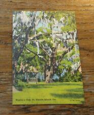 Antique Vtg Linen Postcard Wesley's Oak St Simons Island Mossy Oak Trees 1931 #6