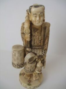 VINTAGE JAPANESE  Hand carved TRAVELING ACTORE   Statue SIGNED Bargain!!!