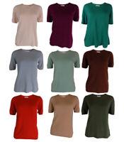 EX-M&S Cotton Classic Short sleeved 100%Acrylic Crew Neck Jumper sizes 10UK-22UK