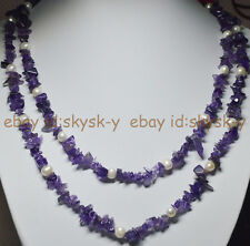 2Rows Real Natural Purple Amethyst & Genuine White Pearl Necklaces 20-24 inches