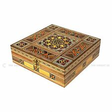 Handmade Syrian Inlaid Mosaic Wooden Jewellery Trinket Gift Box 20x20x7 Cm