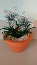Handmade french beaded Flower Pansy plant in Clay pot ice blue flowers