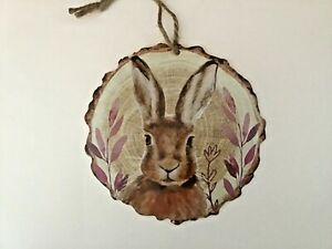 New round Hare wildlife nature wooden hanging plaque gift cute Free P&P
