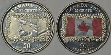 CANADA Lot of 2 x 25 cents 2015 Flag -regular + coloured -slightly circulated