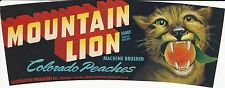 "RARE OLD 1940'S ""MOUNTAIN LION"" PEACH LABEL PALISADE-CLIFTON-GRAND JUNCTION CO"