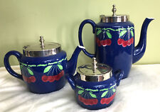 Teapot cream pitcher & sugar bowl French Majolica Sarreguemines 3 pc set VINTAGE