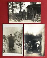 3 x Militär Foto AK 1. WK 1918 Dt. Soldaten in Stellungen Unterstand  ( 63576