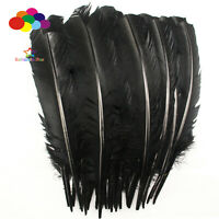 10-100pcs/lot Pure Black 10-12inch Turkey Quill Feathers for Fashion Decorations