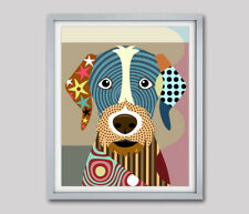 Print Art German Wirehaired Pointer Dog Puppy Pet  Original Giclée Painting