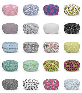 Ambesonne Rose Ottoman Pouf Decor Soft Foot Rest & Removable Cover