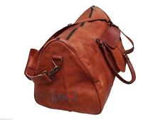 Men's genuine Leather large Triangle duffel travel gym weekend overnight bag New