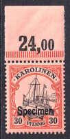 GERMANY CAROLINE ISLANDS KAROLINEN 12S SPECIMEN OG NH U/M VF BEAUTIFUL GUM