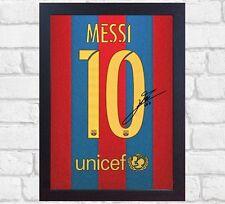 Lionel Messi Barcelona signed autograph Memorabilia CANVAS 100% COTTON Framed