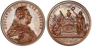 "1792, Sweden, Gustav III. Bronzed ""Assassination / Mourning"" Medal. PCGS SP-65!"