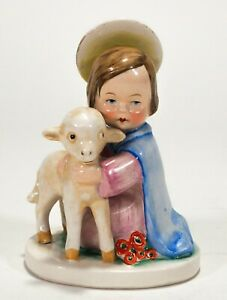 RARE VTG Goebel Angel of Comfort Figurine Incised Crown #HJ19 Holy Child w Lamb