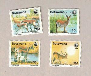 VINTAGE 1988 BOTSWANA WORLD WILDLIFE FUND DEER ANTELOPE 4 STAMP SET MNH