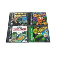 PS1 Playstation 1 4 Game Lot Q-Bert Frogged Monopoly Wheel Of fortune Tested