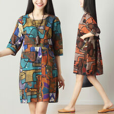 Vintage Women Ethnic Crew Neck Print Flower Pocket Loose Tunic Pullover Dress