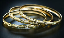 Sevil 18K Gold Plated Diamond-Cut Bangles 3 Pack Set