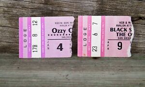 Original 1982 BLACK SABBATH & OZZY OSBORNE Concert Ticket Stubs