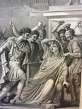 Les Métamorphoses d' Ovide César assassiné brutus Rome Italie estampe de 1807