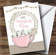 Personalised Bunnies In A Cup Mothers Day Card