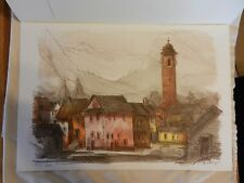 Ticino Village Lithograph Print by René Villiger Signed, Numbered 278/600