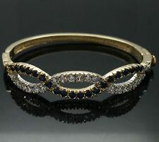 "9Carat Yellow Gold 6.5"" Simulated Sapphire & Diamond Hinged Bangle 3-10mm Width"