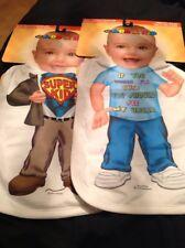 """Just Add A Kid"" Novelty Bibs (2), New Items, Cost $30"